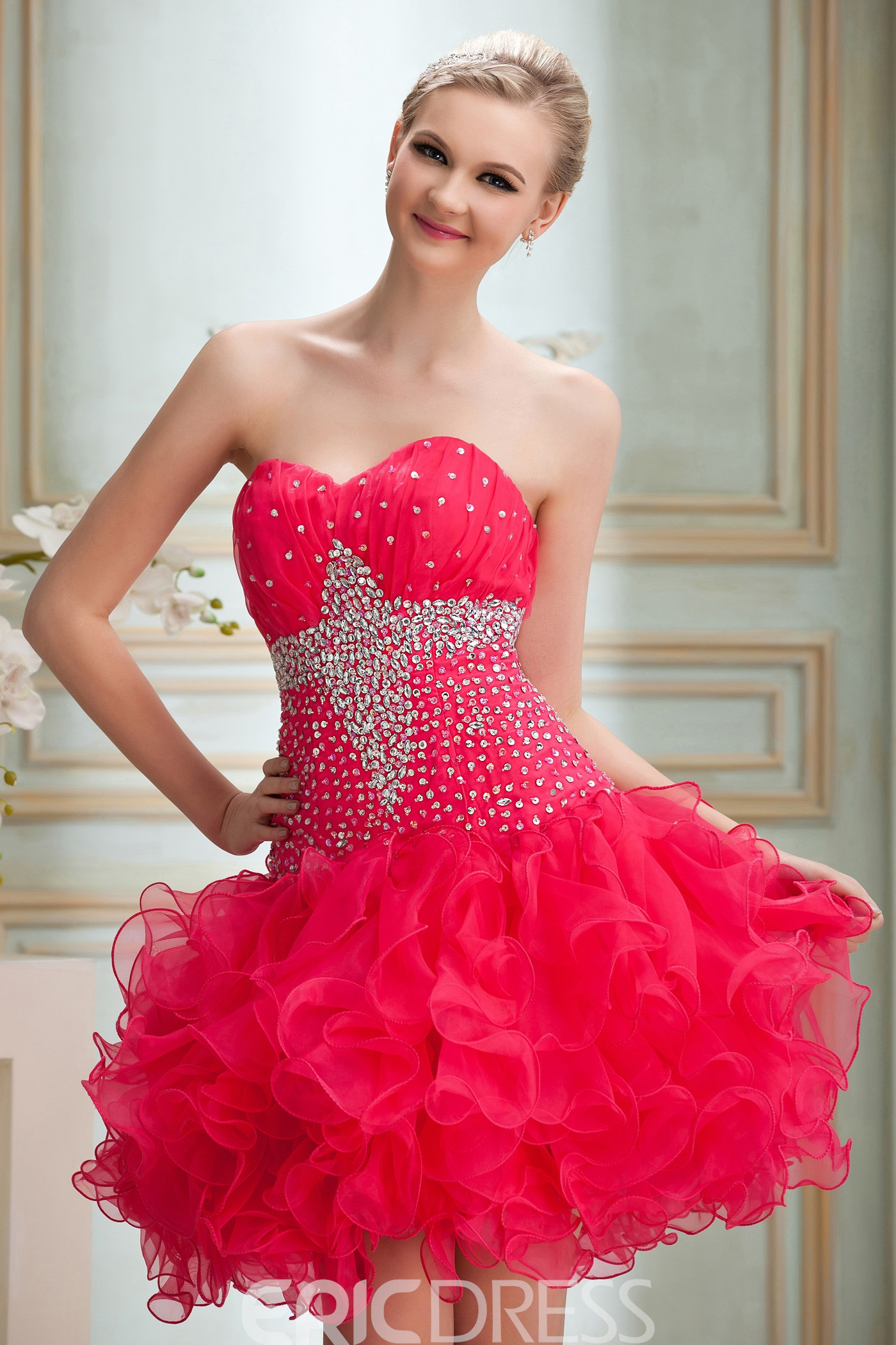 A-Line Sweetheart Mini-Length Empire Waistline Yanas Homecoming/Cocktail Dress