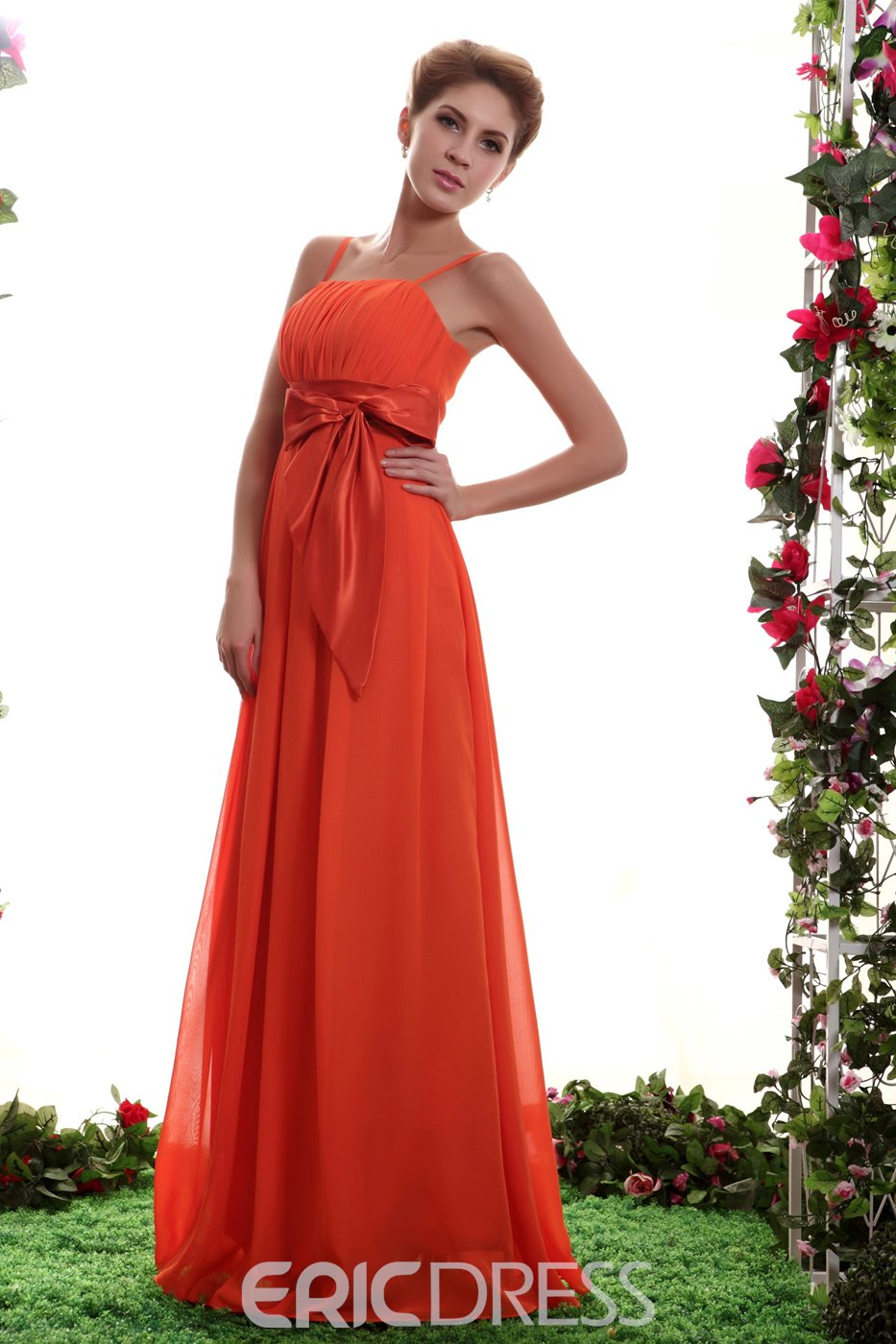 Elegant A-line Floor-Length Spaghetti Straps Bridesmaid Dress
