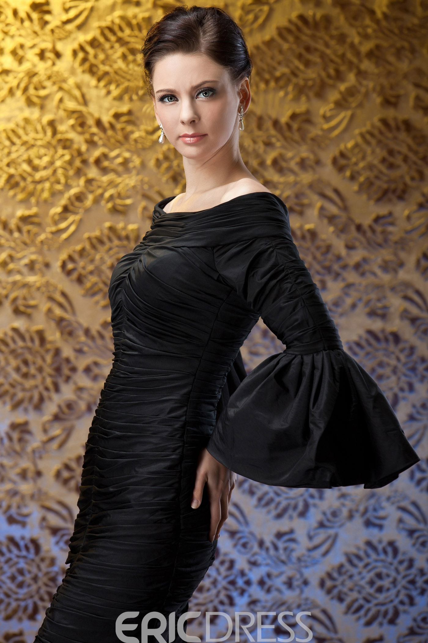 Sheath/Column Off-the-Shoulder Knee-Length Long Sleeves Polina's Mother of the Bride Dress
