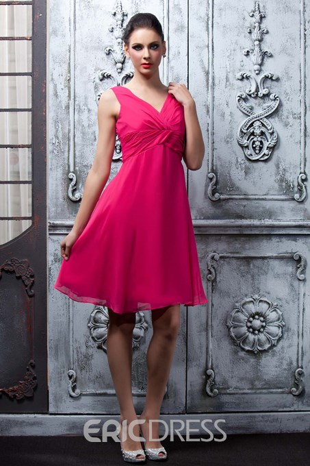 Stunning A-Line Knee-Length V-Neck Bridesmaid Dress