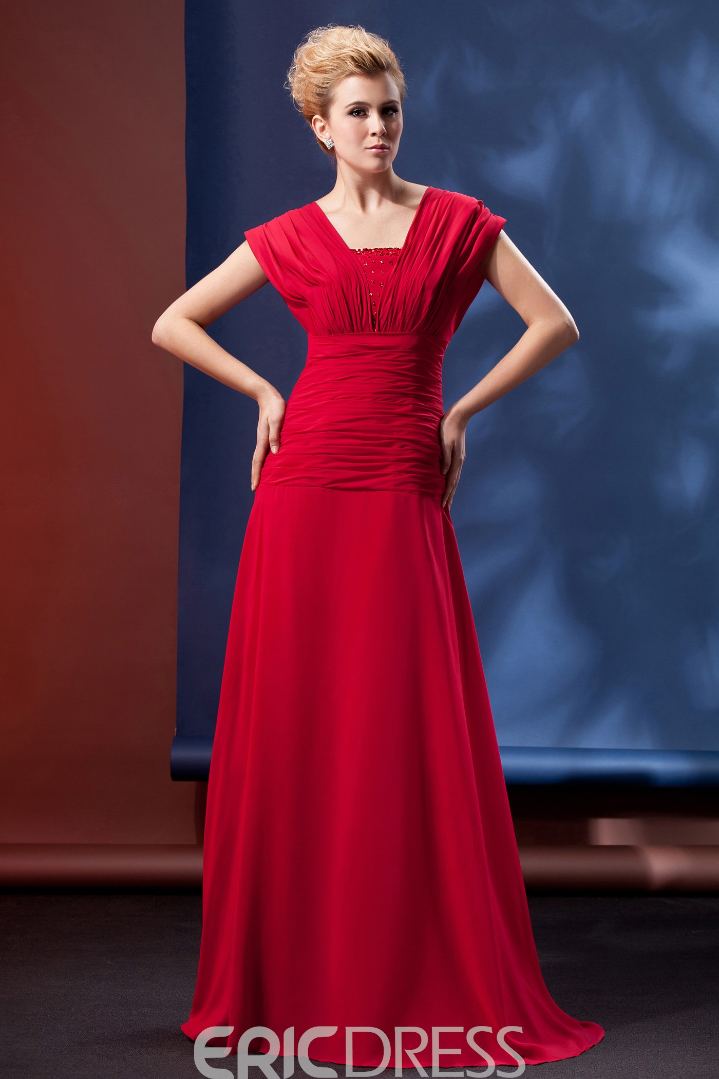 Beading Pleats A-Line Short-Sleeves Floor-length Alina's Mother of the Bride Dress