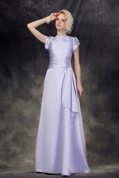 Delicate Empire Waist Jewel Neckline Short Sleeves Floor-Length Nastye's Mother of the Brides Dress