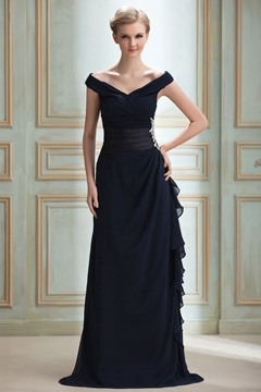 Elegent Off-the-Shoulder V-Neck Sheath Evening Dress