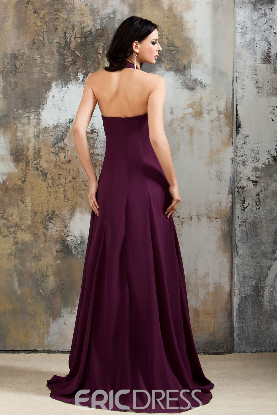Ericdress Halter Chiffon Long Bridesmaid Dress