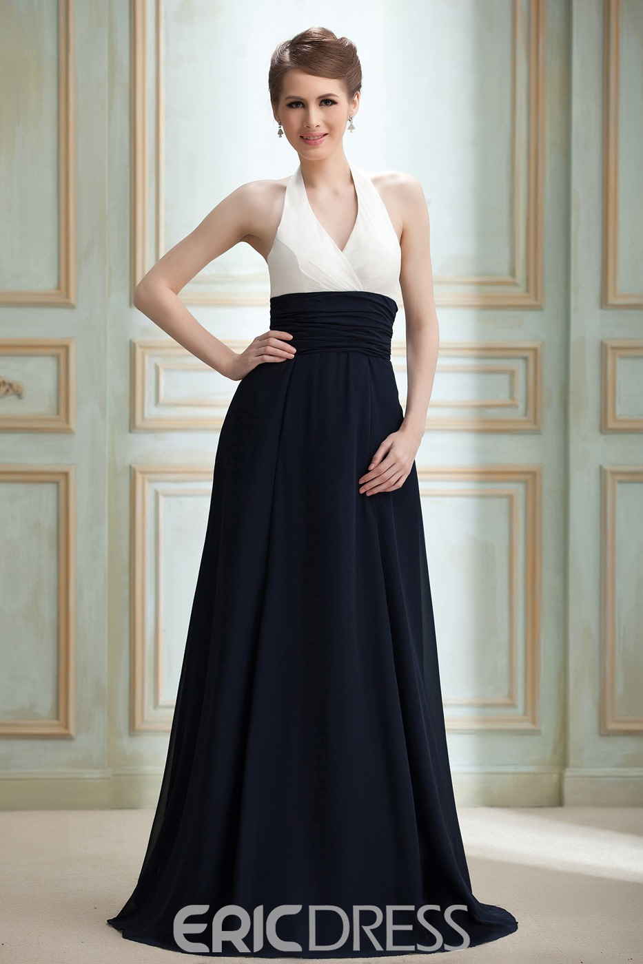 Ruched A-line Halter Foor-Length Empire Waist Nadya's Bridesmaid Dress