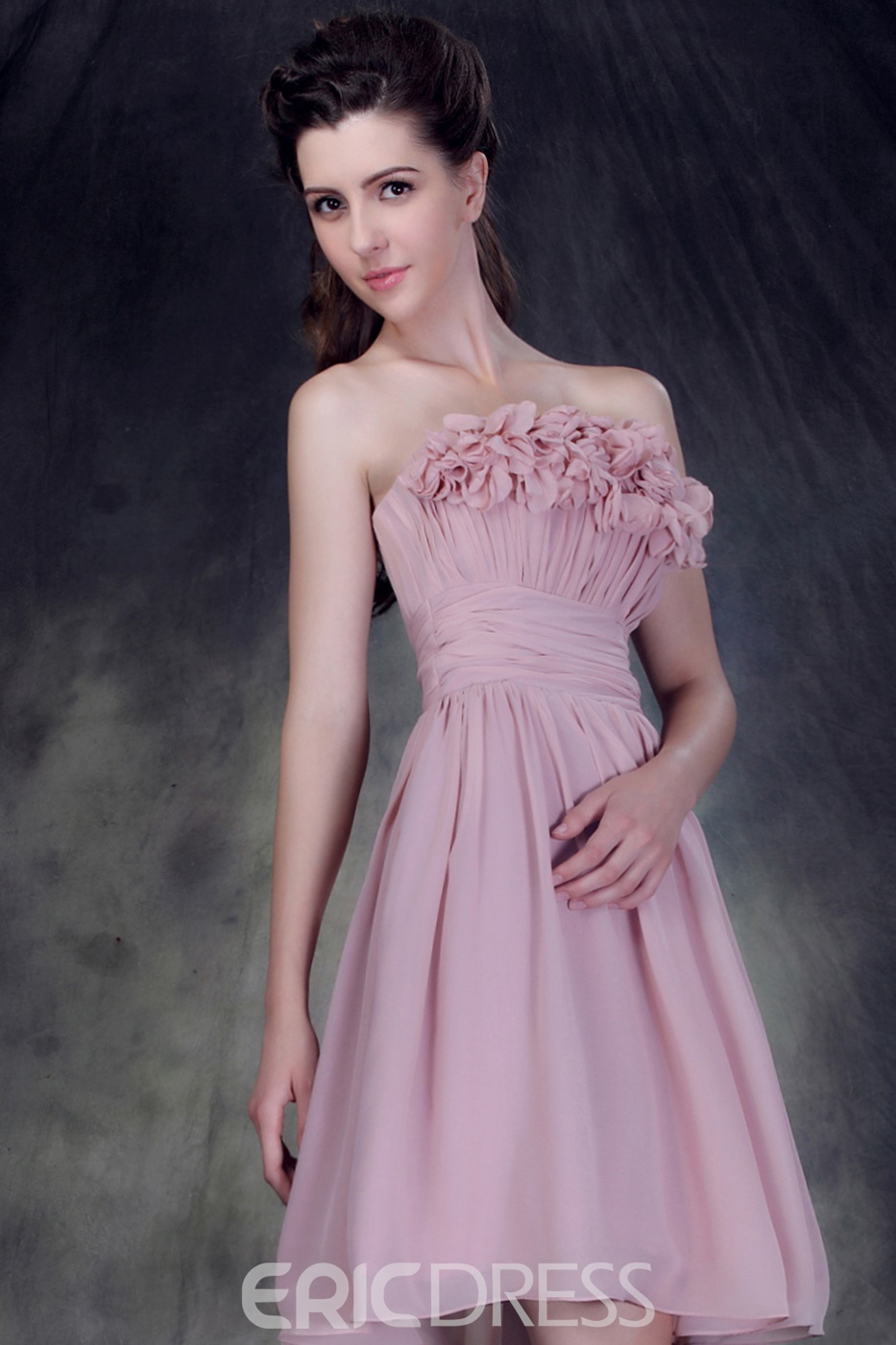 Attractive Pleats Tassels A-line Strapless Knee-length Anderai's Bridesmaid Dress