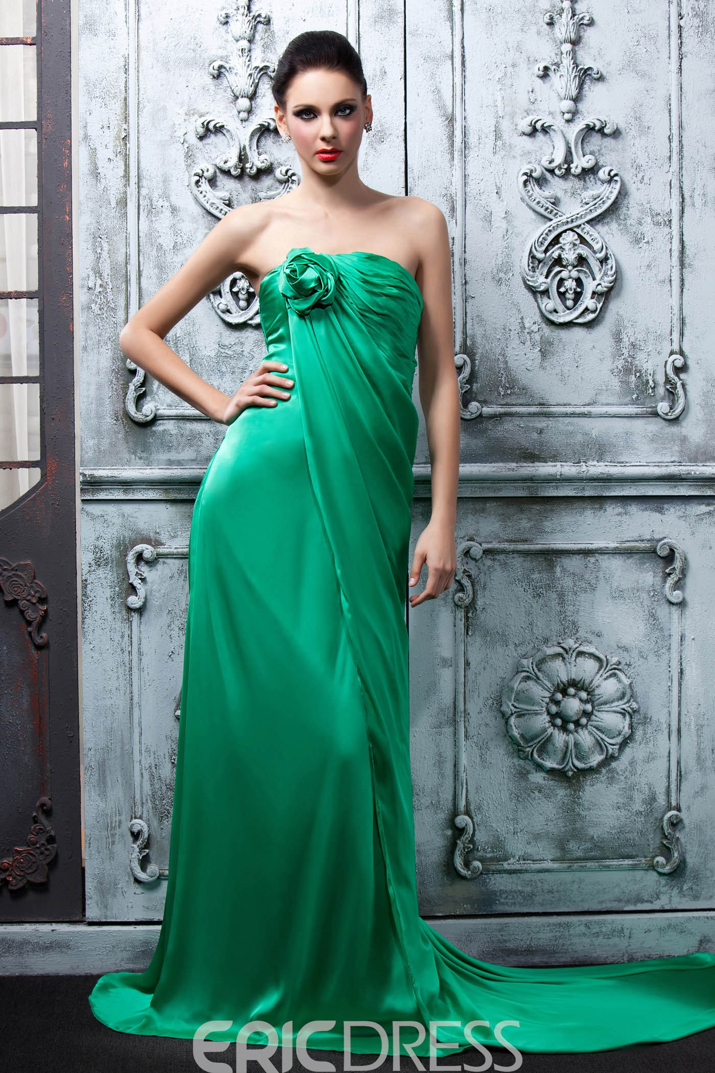 Faddish Ruched A-line Flower Court Train Strapless Polina's Bridesmaid Dress