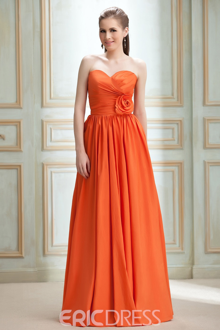 Attractive Flower Empire Waist A-line Sweetheart Bridesmaid Dress