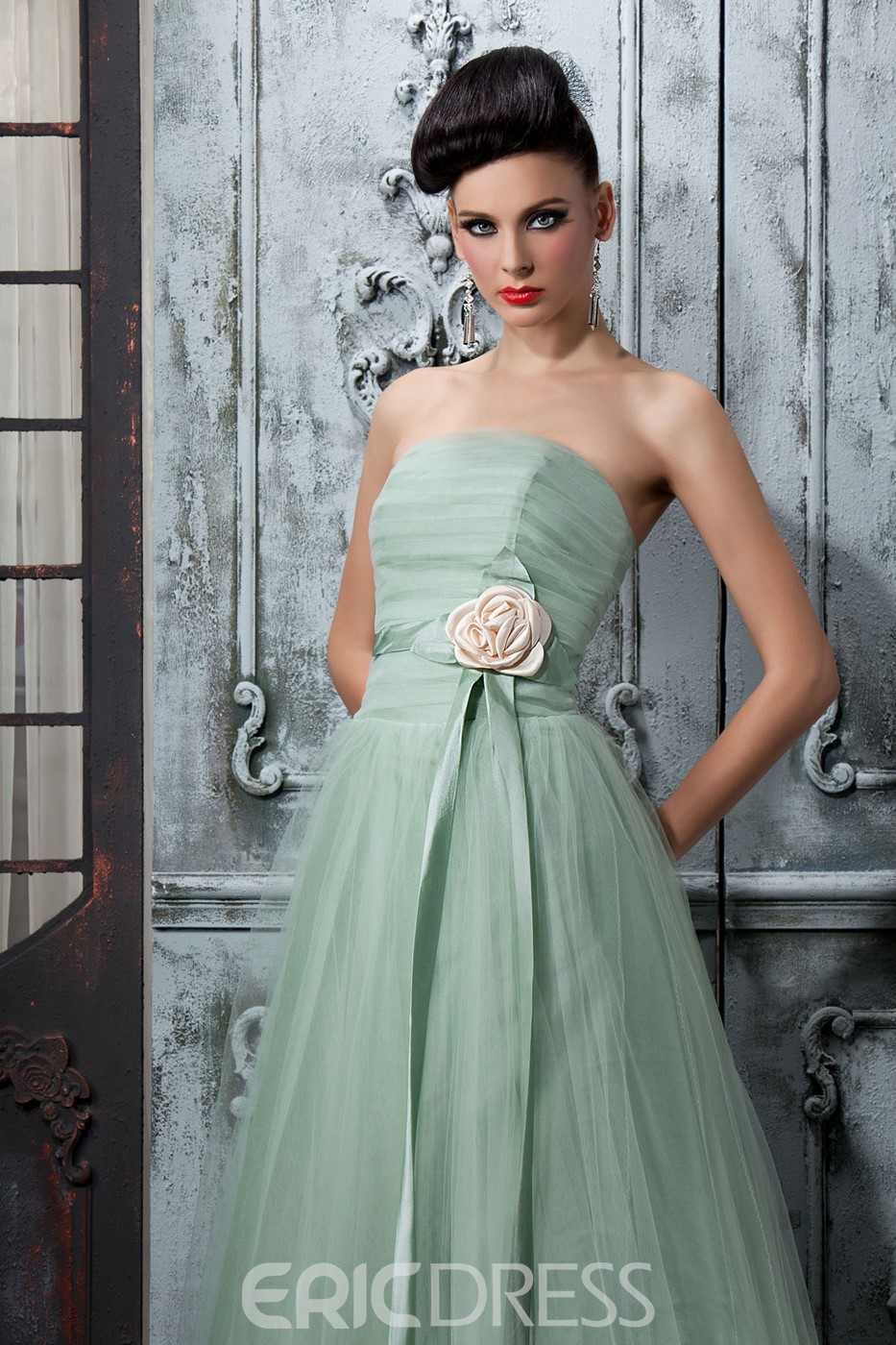Wonderful A-Line Flowers Pleats Strapless Sleeveless Floor-Length Polina's Bridesmaid Dress