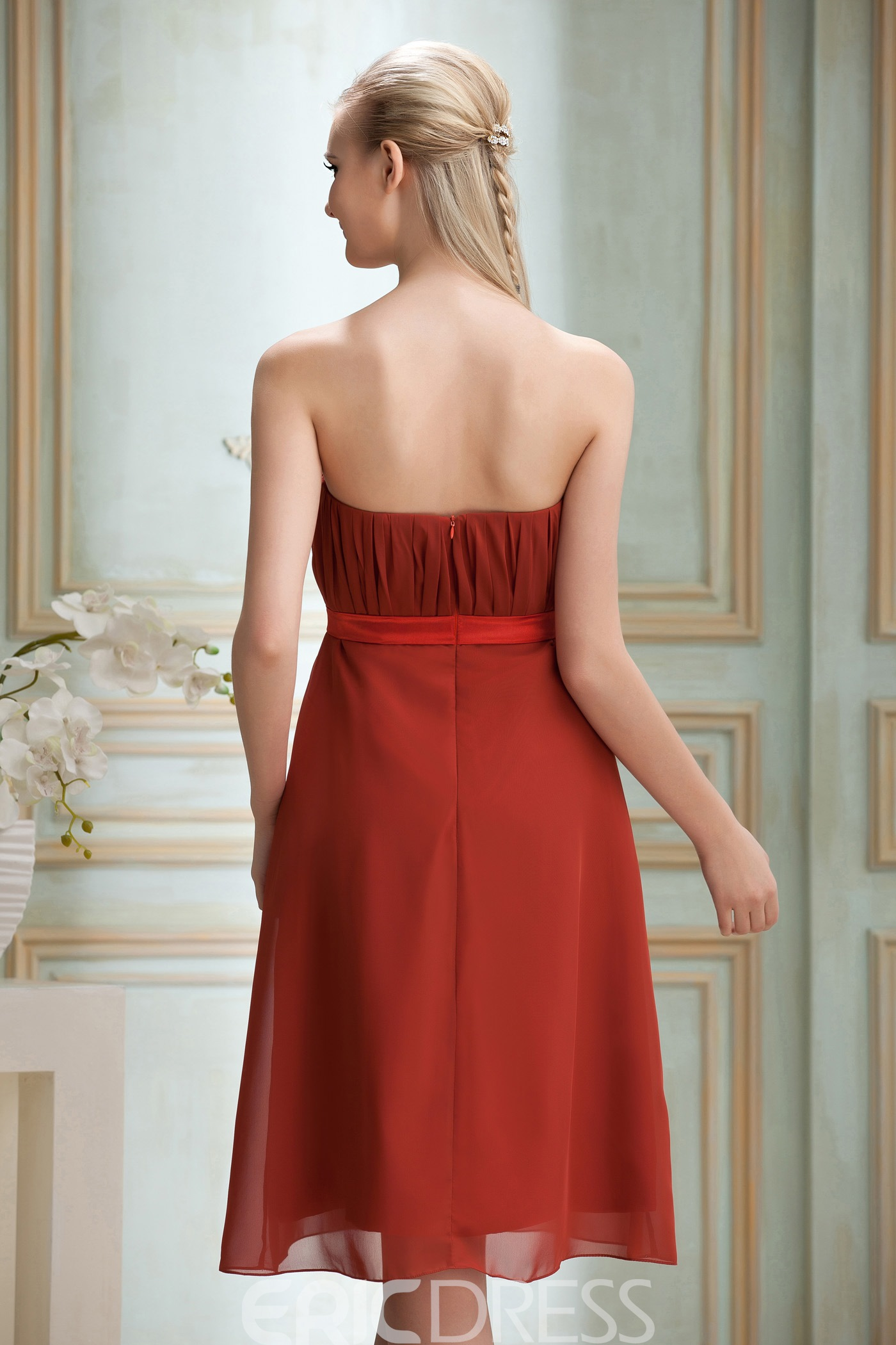 Chic Strapless Ruched A-line Strapless Knee-Length Hot Sell Yana's Bridesmaid Dress
