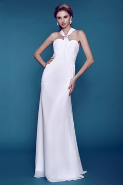 Plain Column/ Sheath Beaded Beach Wedding Dress