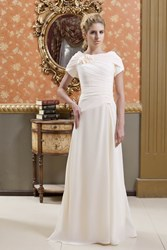 Image of A-Line Short Sleeves Long Mother of the Bride Dress