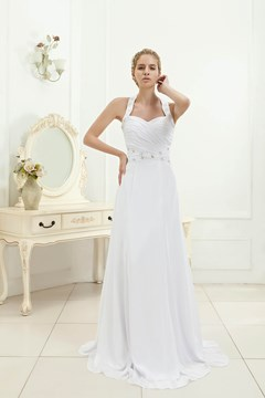 Charming A-line Halter Beaded Floor-length Veronica's Beach Wedding Dress