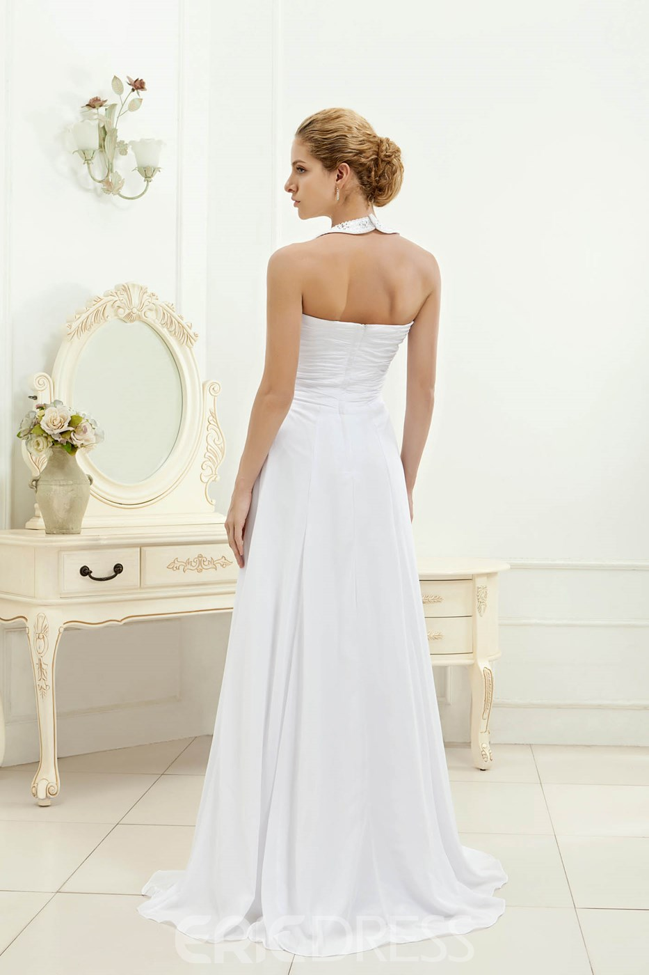 Ericdress Halter Beaded Beach Wedding Dress