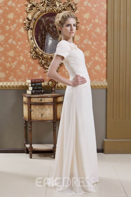 A-Line Short Sleeves Long Mother of the Bride Dress