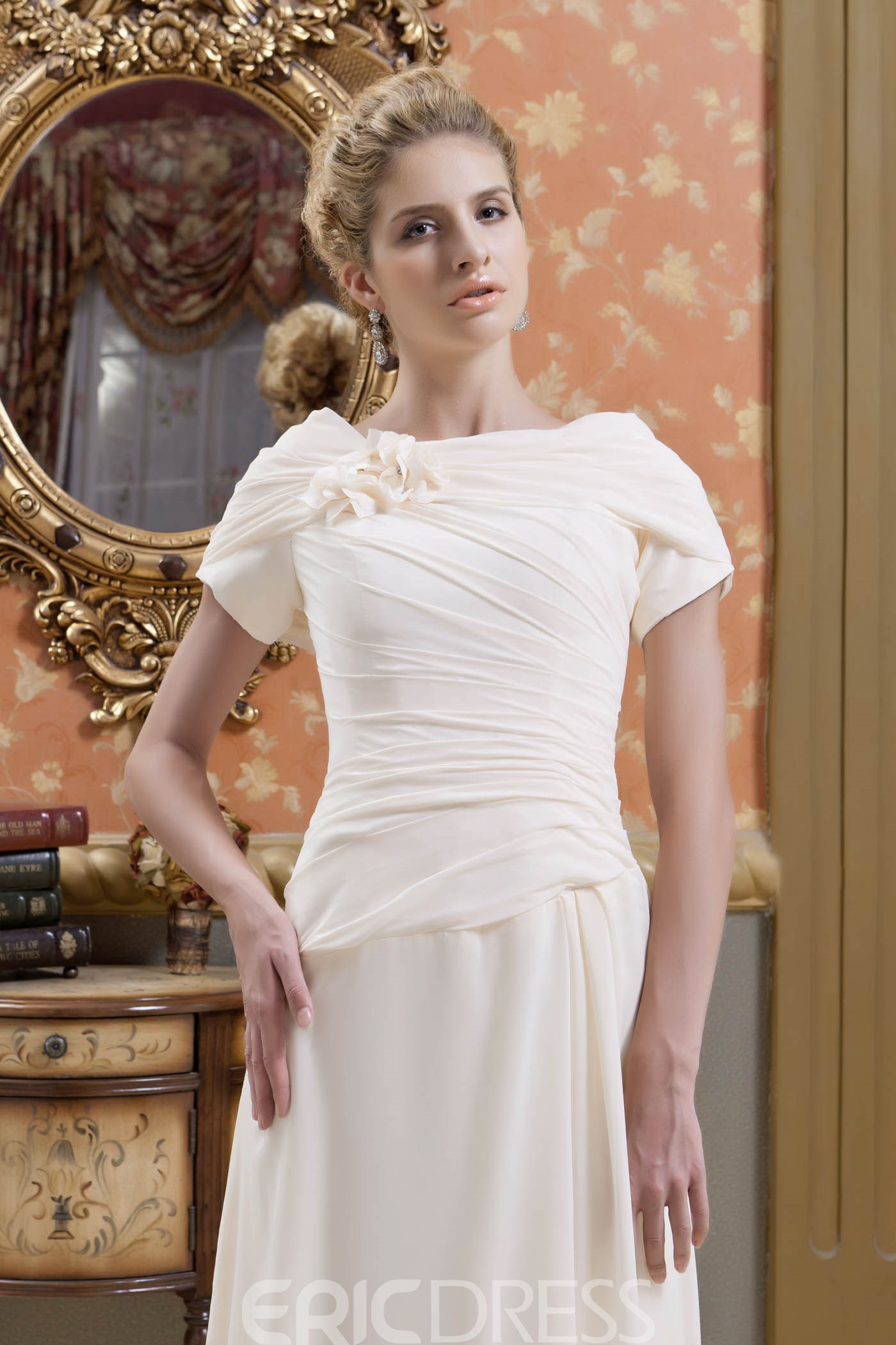 Gorgeous Veronica's Flowers Ruched A-Line Scoop Neckline Floor-Length Mother of the Bride Dress