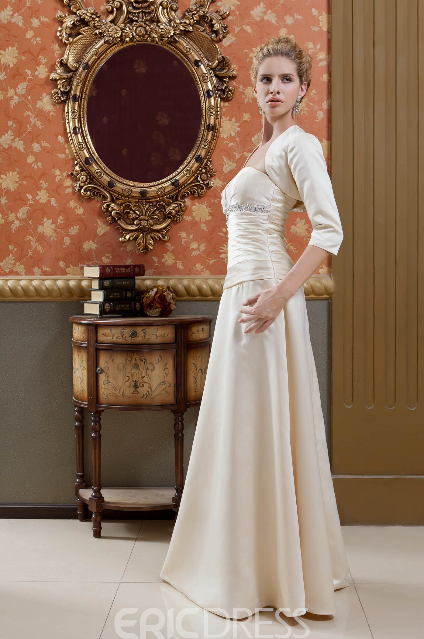 Delicated Sheath/Column Strapless Floor-Length Veronica's Mother of the Bride Dress With Jacket/Shawl