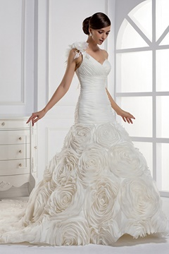 Dramatic One Shoulder Flowers Mermaid Wedding Dress