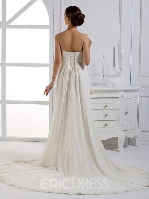Gorgeous A-line Ribbons Court Train Strapless Wedding Dress