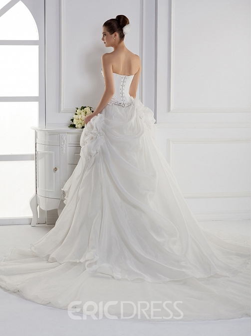 Dramatic A-line Sweetheart Floor-length Cathedral Train Lace-Up Wedding Dress