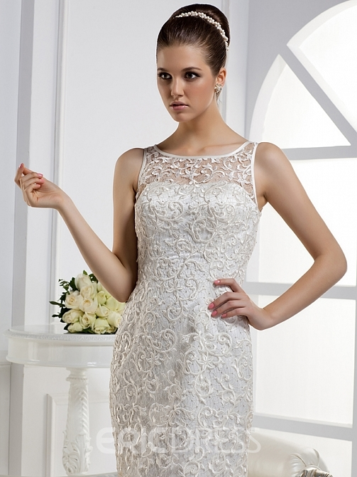 Charming Mermaid Bateau Floor-length Court Train Lace Wedding Dress