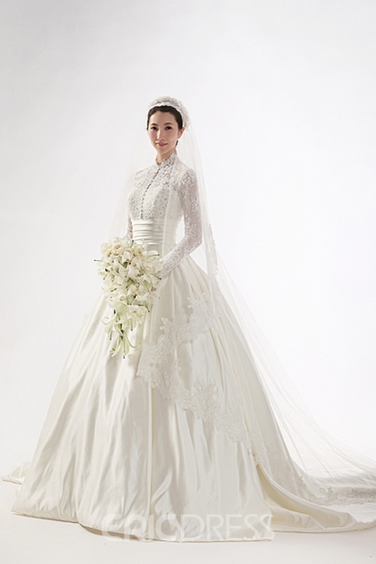Gorgeous A-line High-neck Long Sleeves Chapel Train Wedding Dress ...