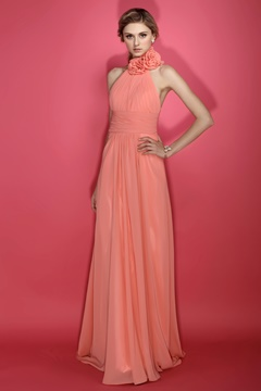 Discount A-Line Halter Floor-length Sleeveless Bridesmaid Dress