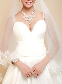 Wedding Bridal Veil with Lace Flowery Edge