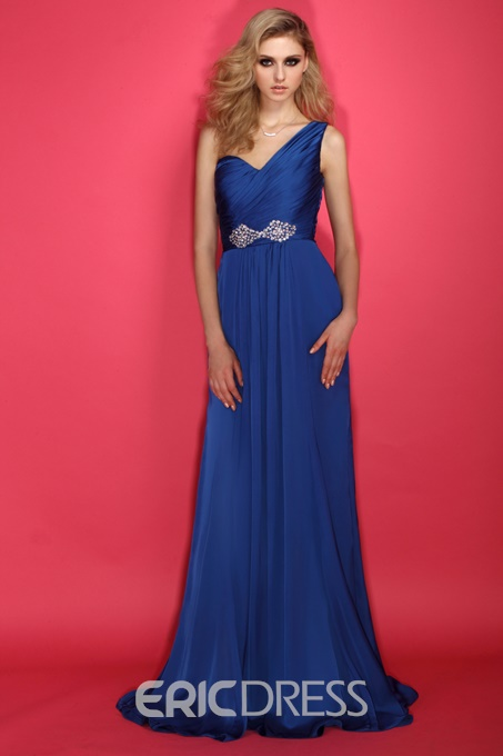 One-shoulder Rouched Bodice with A line Mother of Bride Dress