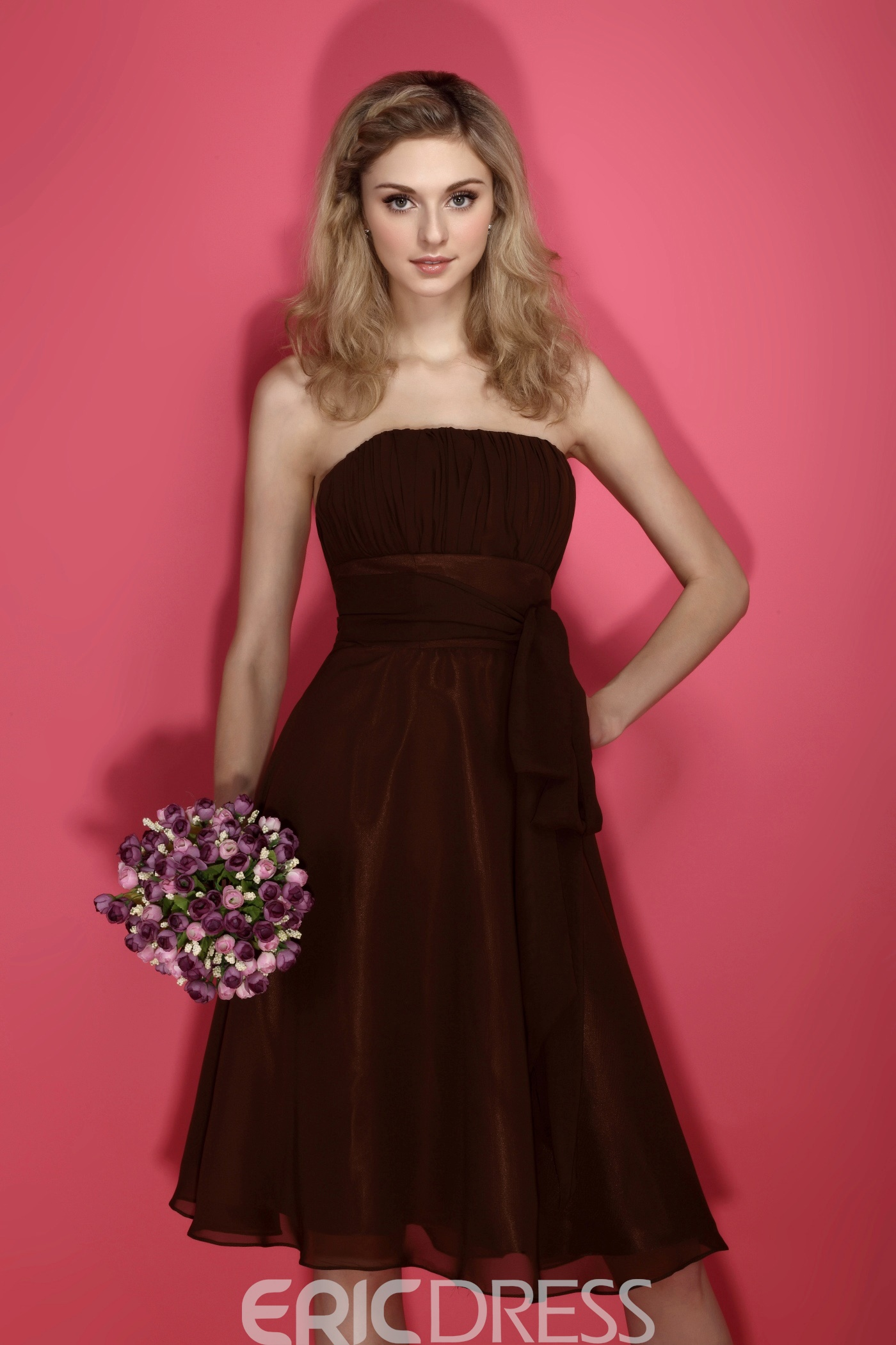 Amazing Chiffion Strapless Sleeveless Knee-Length Bridesmaid Dress