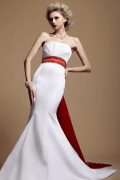 Elegant Belt Color Strapless Mermaid Wedding Dress