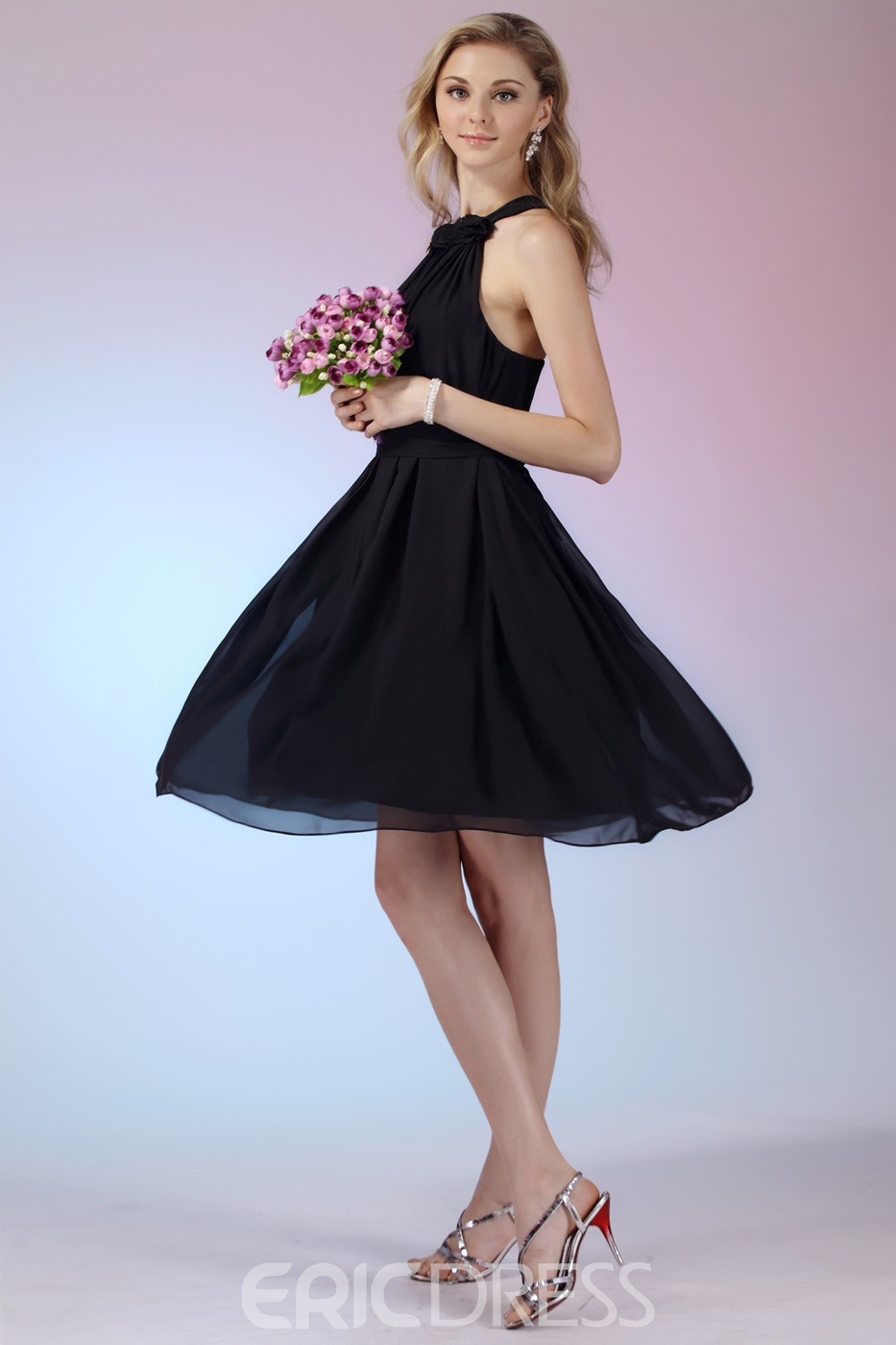 Attractive Flowers A-Line Halter Knee-length Bridesmaid Dress