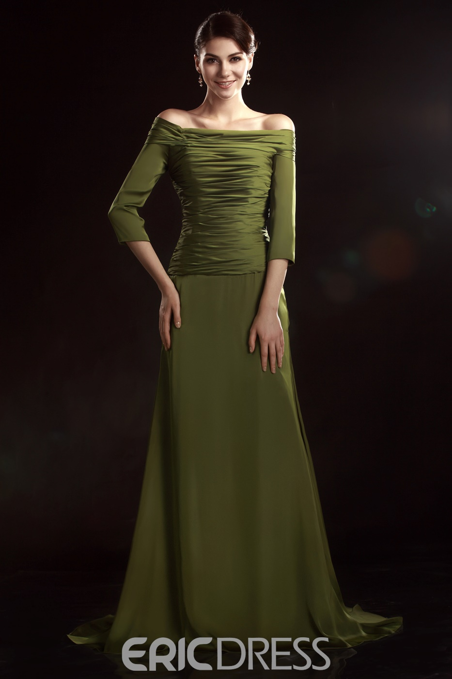 Charming A-Line Off-the-Shoulder 3/4-Sleeves Mother of the Bride Dress