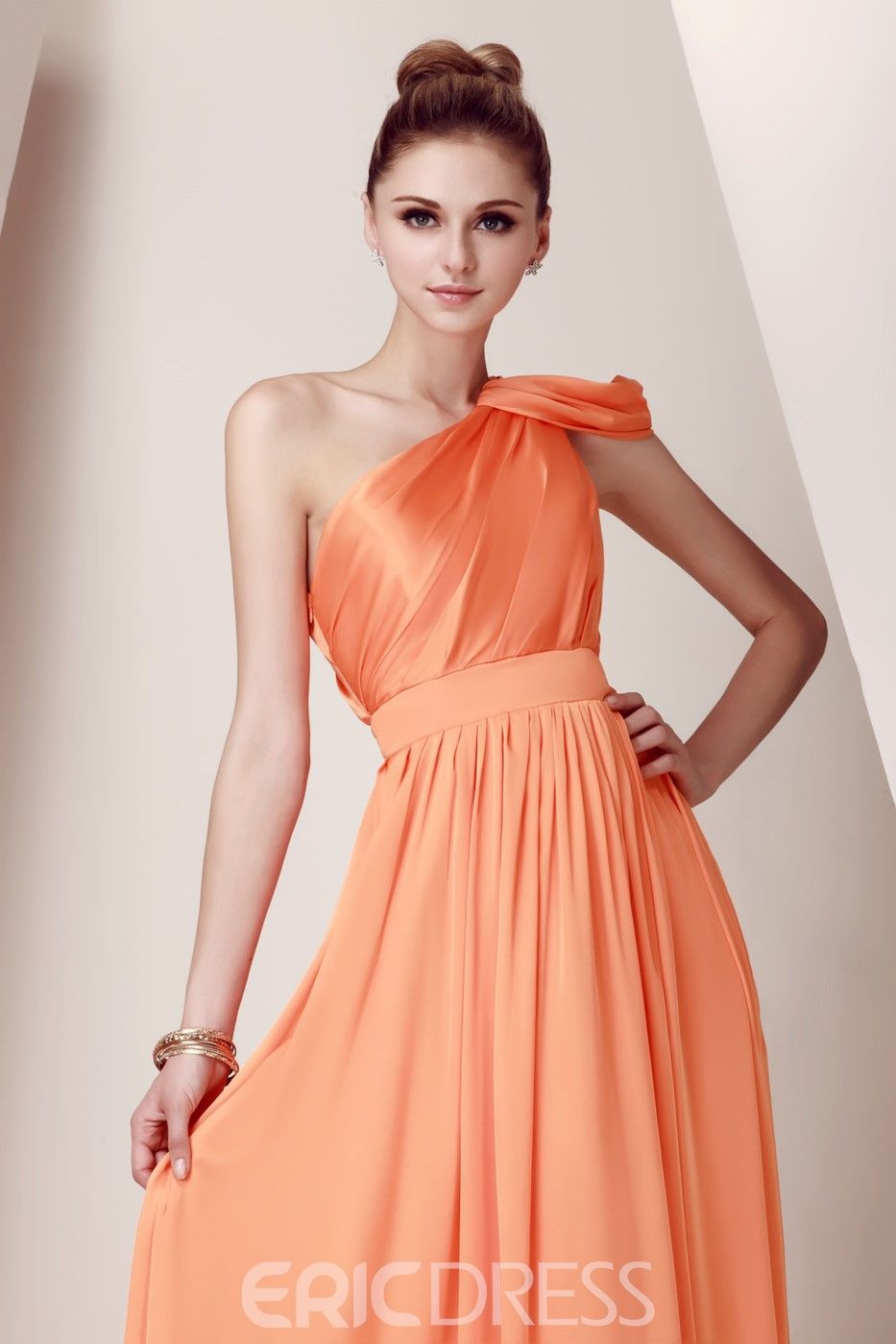 Elegant Empire Waist One-Shoulder Floor-Length Dasha's Bridesmaid Dress