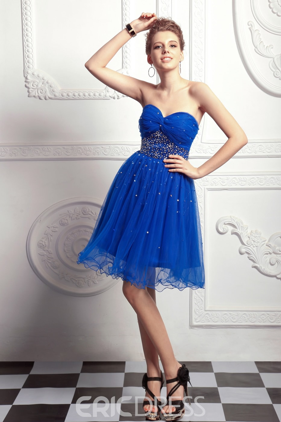 A-Line Knee-Length Sweetheart Sequins Anita's Prom Homecoming Dress
