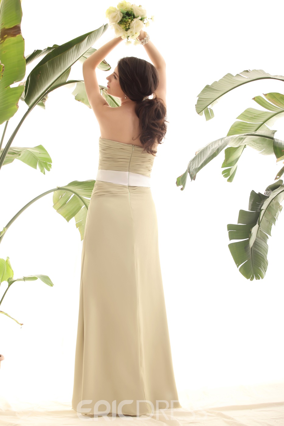 Light Yellow Green Column Strapless Luba S Bridesmaid