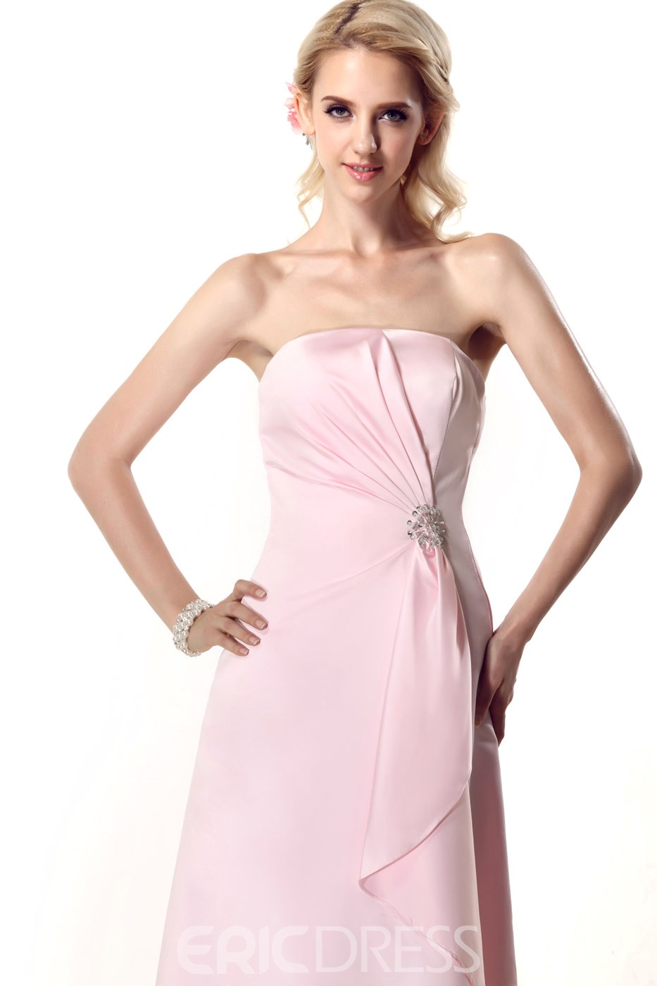 A-Line/Princess Strapless Floor-Length Nastye's Bridesmaid Dress