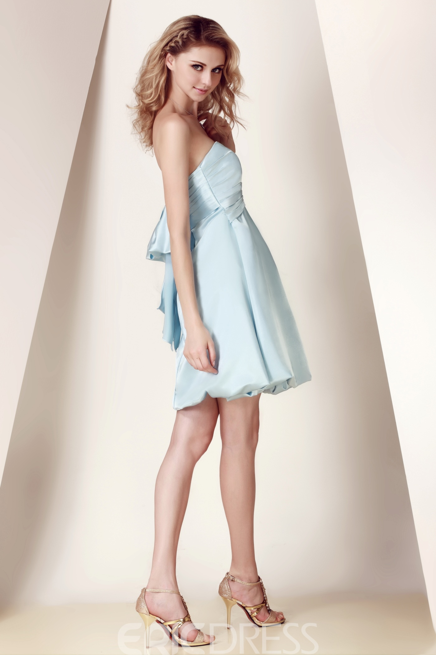 Amazing Bowknot A-Line Strapless Knee-length Dasha's Bridesmaid Dress