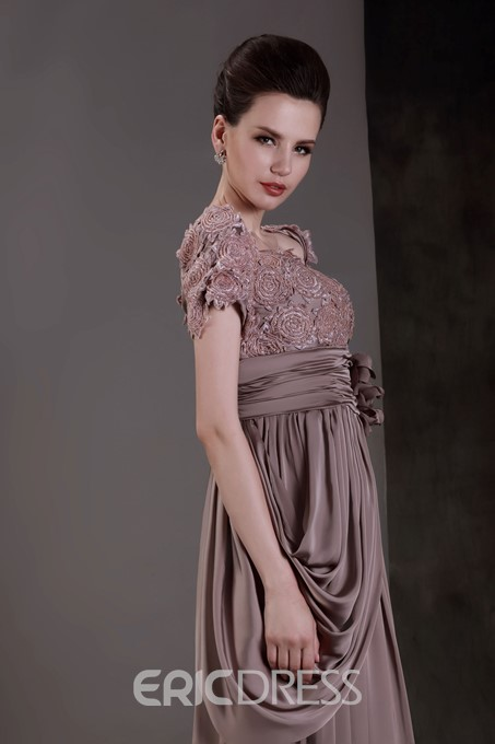 Lace Scoop Neckline Short Sleeves Mother of the Bride Dress