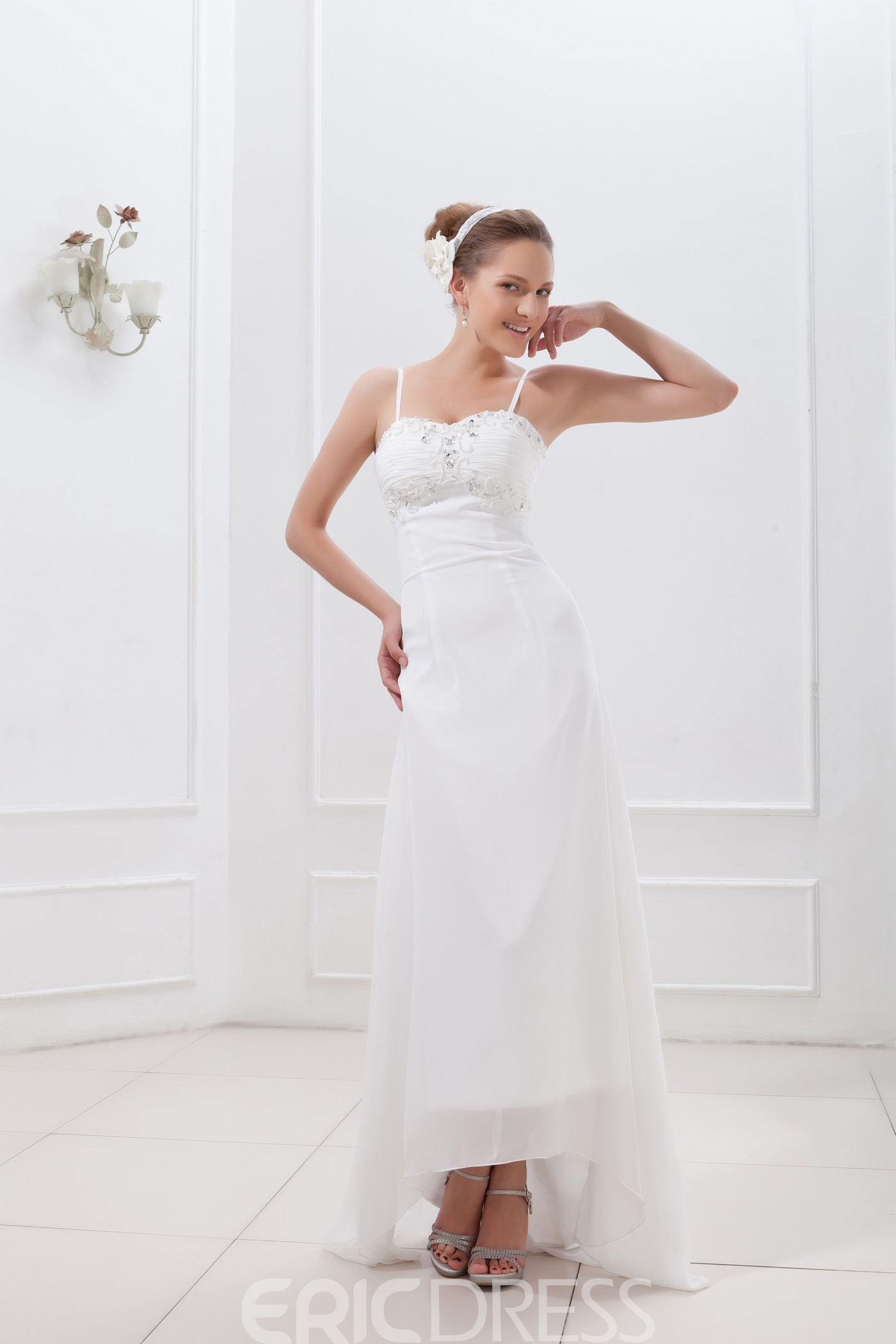 Gorgeous Spaghetti Straps Sheath/Column Asymmetry Wedding Dress