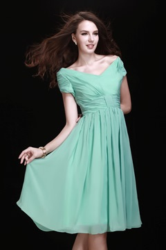 Pretty A-Line V-neck Short-Sleeves Bridesmaid Dress