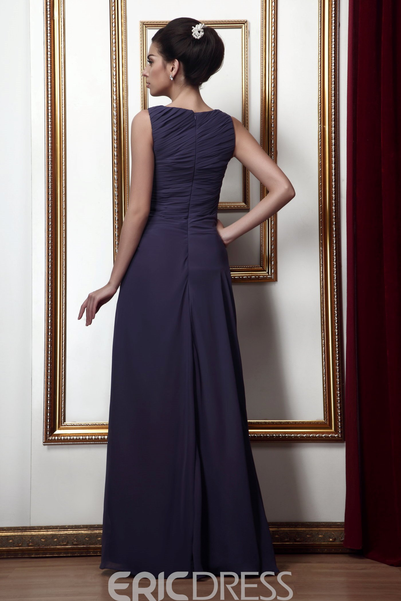 Attractive Jewel Sheath Floor Length Pleats Taline's Mother of The Bride Dress With Jacket/Shawl