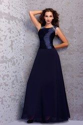 Image of Draped Beading A-line Short-Sleeves Floor-Length Round-Neckline Miriamas Mother Of The Bride Dress