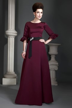 A-Line Jewel Neckline Half-Sleeves Floor-Length Alex's Mother of the Bride Dress