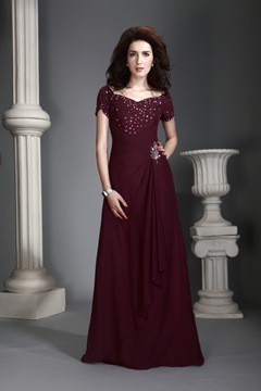 A-Line Short Sleeves V-Neck Floor-Length Alex's Mother Dress