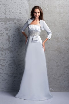 Graceful A-Line Strapless Floor-Length Beading Mother of the Bride Dress With Jacket/Shawl