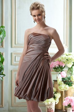 Awesome Ruched Strapless Knee-Length Bridesmaid Dress