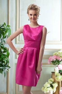 A-Line Bateau Neckline Knee-Length Bridesmaid Dress