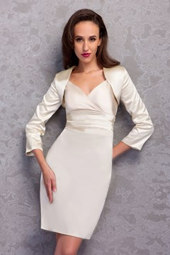 Fantastic Sheath/Column V-Neck Knee-Length Renata's Mother of the Bride Dress With Jacket/Shawl