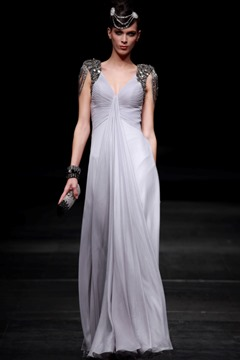 Princess A-line Capped Floor-length Evening Event Dress